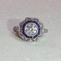 octagon diamond and sapphire ring